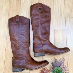 FRYE Melissa Button Boots 2 in cognac brown, 7.